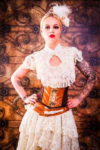 Burleska Steampunk Blouse - Dita Cream Lace Top with Button Neck | Angel Clothing