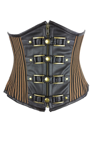 Burleska Steampunk Corset, Gemini Underbust Corset in Brown Stripe | Angel Clothing