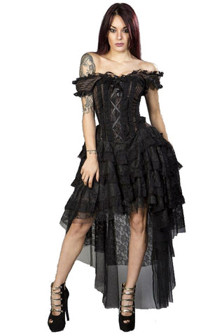 Burleska Steampunk Ophelie Dress in Brown Stripe | Angel Clothing