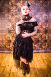 Burleska Steampunk Skirt - Black Lace Ophelie Waterfall Skirt | Angel Clothing