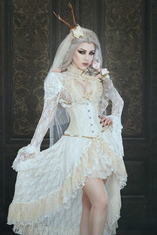 Burleska Steampunk Tailcoat, Valentina Cream Lace Long Dress Coat | Angel Clothing