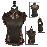 Burleska Steampunk Top, Brown Rosetta Top with Lace Panel Detail | Angel Clothing