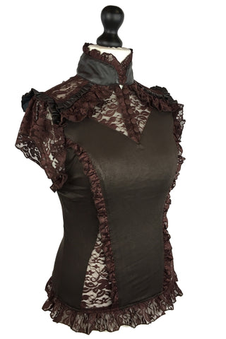 Burleska Steampunk Top, Brown Rosetta Top with Lace Panel Detail - Angel Clothing