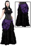 Burleska Victorian Gothic Maxi Skirt, Black Lace with Purple Taffeta Overlay | Angel Clothing