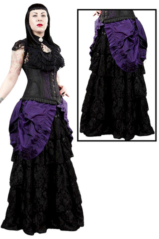 Burleska Victorian Gothic Maxi Skirt, Black Lace with Purple Taffeta Overlay - Angel Clothing