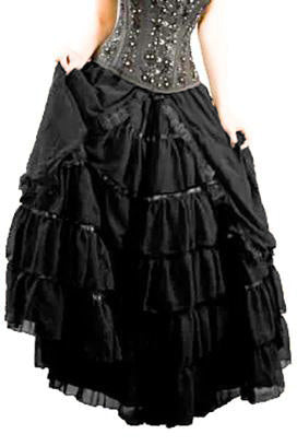 Burleska Victorian Gothic Skirt Black Chiffon | Angel Clothing
