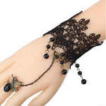 Black Lace Gothic Butterfly Slave Bracelet | Angel Clothing
