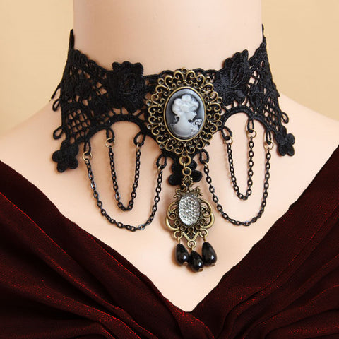Black Lace Steampunk Cameo Choker | Angel Clothing