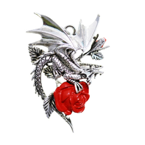 Carpe Noctum Draca Rosa Gothic Dragon Rose Pendant by Anne Stokes | Angel Clothing