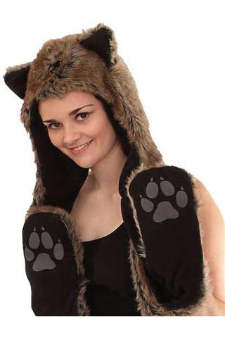 Cat Bear or Wolf Hood with Scarf and Pockets - Hat | Angel Clothing