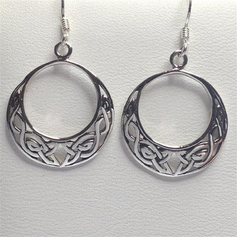 Seventh Sense Celtic Hoop Earrings Silver | Angel Clothing