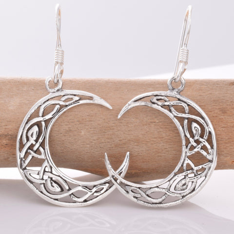 Celtic Moon Earrings 925 Sterling Silver - Angel Clothing