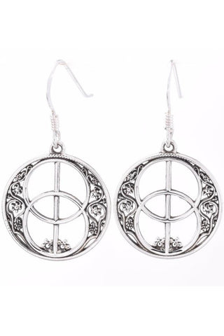 Seventh Sense Chalice Well Drop Earrings Silver | Angel Clothing