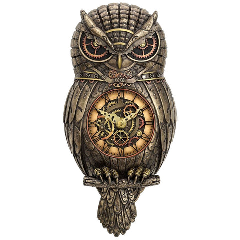 Chronology Wisdom Steampunk Owl Clock 31.5cm | Angel Clothing