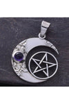 Seventh Sense Crescent Moon and Pentagram Pendant Silver | Angel Clothing
