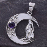 Seventh Sense Crescent Moon with Moongazing Hare Pendant Silver | Angel Clothing