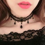 Black Criss Cross Lace Choker with Teardrop Beads | Angel Clothing