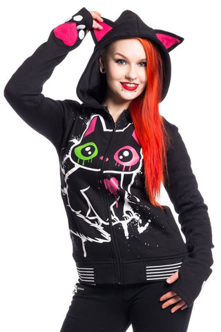 Cupcake Cult Kitty Mase Hood Gothic Cat Ears Sweatshirt Jacket | Angel Clothing