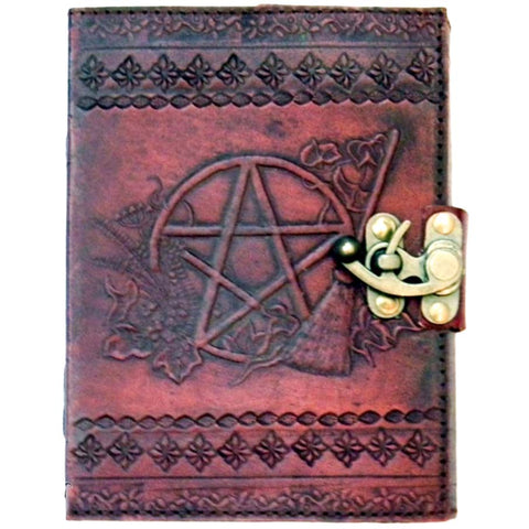 Pentagram Leather Emboss Journal and Lock | Angel Clothing