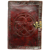 Pentagram Leather Embossed Journal with Lock | Angel Clothing