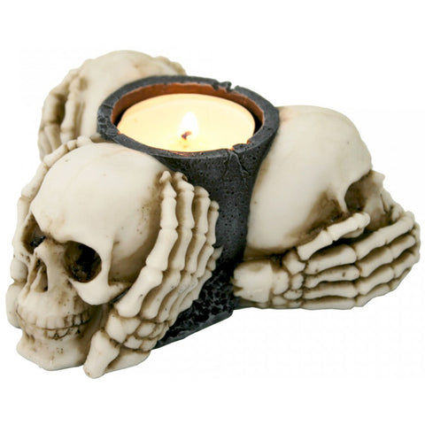 Three Wise Skulls Tealight Holder 11cm | Angel Clothing