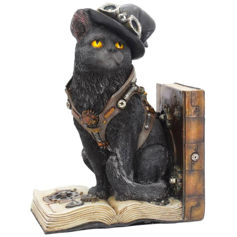 Purring Pioneer Steampunk Cat Bookend 19cm | Angel Clothing