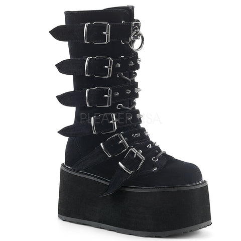 Demonia DAMNED-225 Boots Black Velvet | Angel Clothing