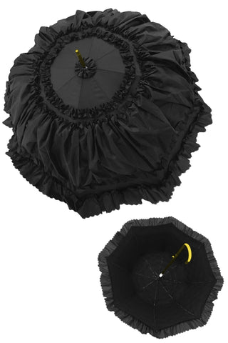 Dark in Love Black Gothic Ruffled Rainproof Umbrella Parasol AUM008 - Angel Clothing