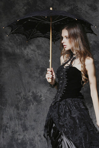 Dark in Love Black Gothic Victorian Lace Parasol with Wooden Handle - Angel Clothing