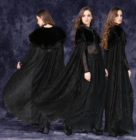 Dark In Love Gothic Cape with Long Flowing Flowered Hem - Angel Clothing