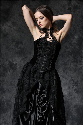 Dark In Love Gothic Elegant Velvet Corset Top with Cord and Lace Around Neck | Angel Clothing