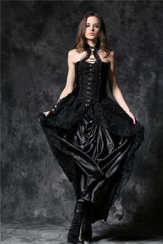 Dark In Love Gothic Elegant Velvet Corset Top with Cord and Lace Around Neck - Angel Clothing