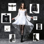 Dark In Love Gothic Ghost Dovetail Lace Dress with Button Front Detail - White | Angel Clothing