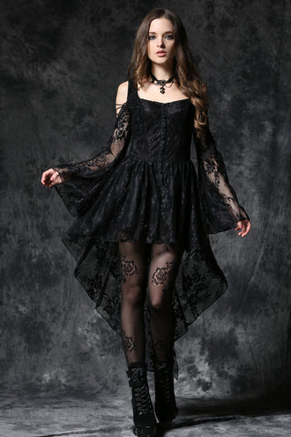 Dark In Love Gothic Ghost Dovetail Lace Dress with Button Front Detail - Black - Angel Clothing