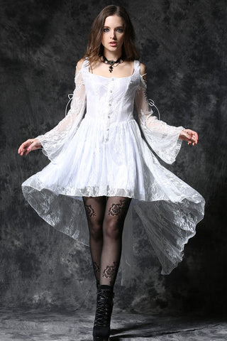 Dark In Love Gothic Ghost Dovetail Lace Dress with Button Front Detail - White - Angel Clothing