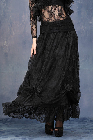 Dark In Love Gothique Elegant Long Gothic Skirt - Angel Clothing