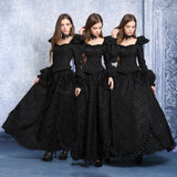 Dark In Love Long Gothic Skirt with Lace Pattern and Lace Trim and Side Bustled Overskirt. | Angel Clothing