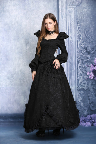Dark In Love Long Gothic Skirt with Lace Pattern and Lace Trim and Side Bustled Overskirt. - Angel Clothing