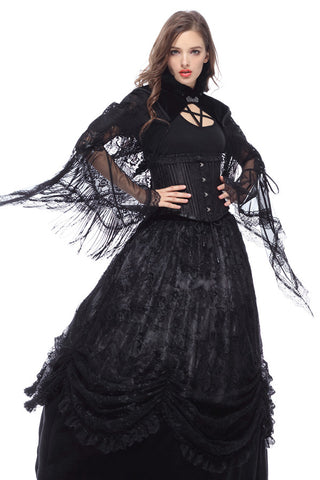 Dark In Love Velvet Lace Fringed Shawl - Angel Clothing