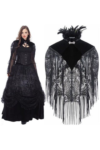 Dark In Love Velvet Lace Fringed Shawl | Angel Clothing