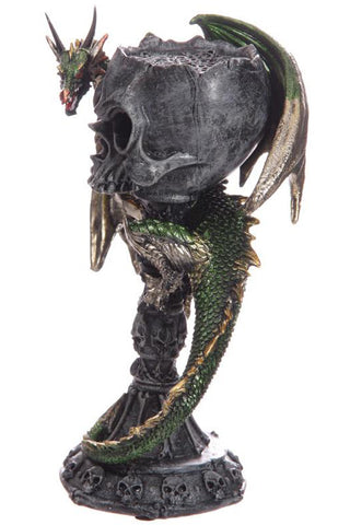 Dark Legends Green Dragon Skull Goblet Tealight Holder | Angel Clothing
