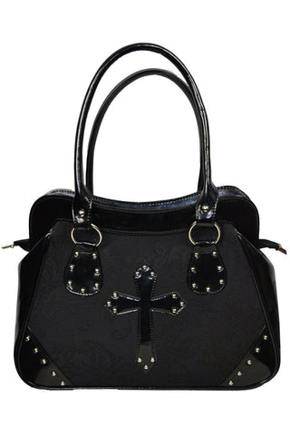 Dark Star - Black / Black Brocade and PVC Handbag | Angel Clothing