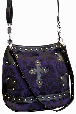 Dark Star Brocade and Pvc Trim Shoulder Bag Purple Black | Angel Clothing