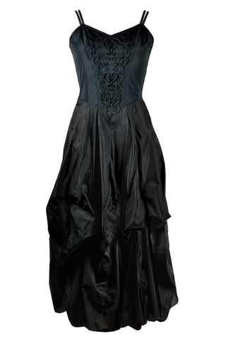 Dark Star Gothic Dress, Black Polysilk Floaty Goth Dress with Black Embroidery Detail | Angel Clothing