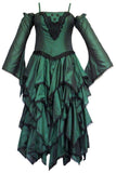 Dark Star Green Polysilk Open Shoulder Dress | Angel Clothing