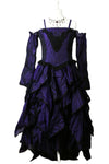 Dark Star Gothic Dress, Polysilk Open Shoulder Floaty Goth Dress - Purple | Angel Clothing