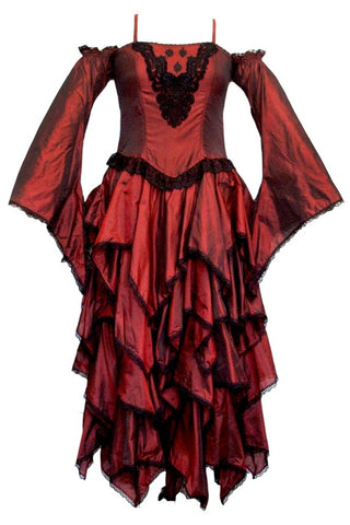 Dark Star Gothic Dress, Polysilk Open Shoulder Floaty Goth Dress - Maroon | Angel Clothing