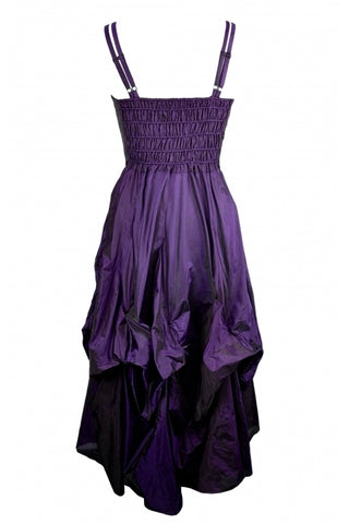 Dark Star Gothic Dress, Purple Polysilk Floaty Goth Dress with Embroidery Detail - Angel Clothing