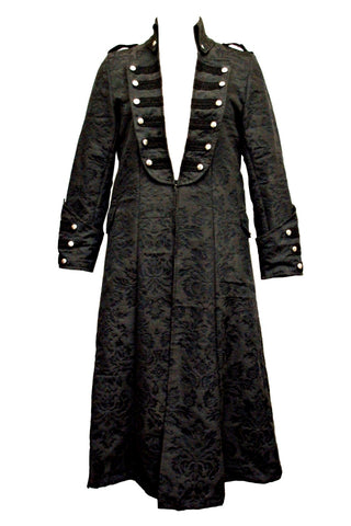 Dark Star Gothic Frock Coat, Long Black Brocade Steampunk Pirate Coat | Angel Clothing