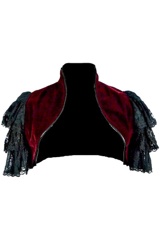 Dark Star Gothic Shrug, Maroon Velveteen Bolero Jacket with Ruffled Lace Sleeves | Angel Clothing